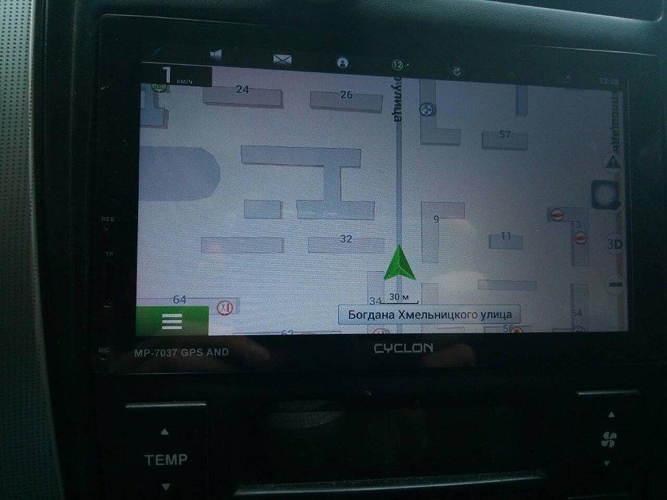GPS-навигация с помощью Навител на Андроид-магнитоле Cyclon MP-7037 GPS AND установленной в Hyundai Tucson