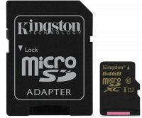Карта памяти Kingston microSDXC 64 Gb UHS-I + adapter U1