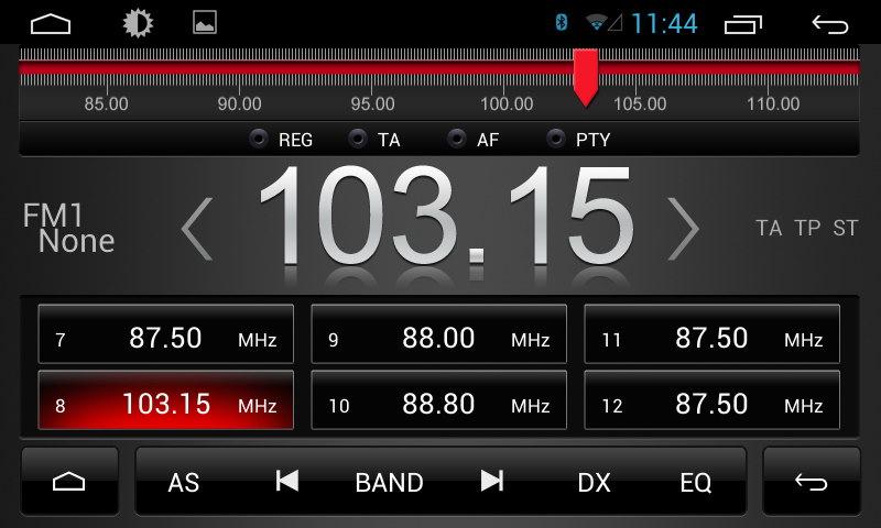Вид меню магнитол Redpower (Редповер) при проигрывании радио, платформа Android