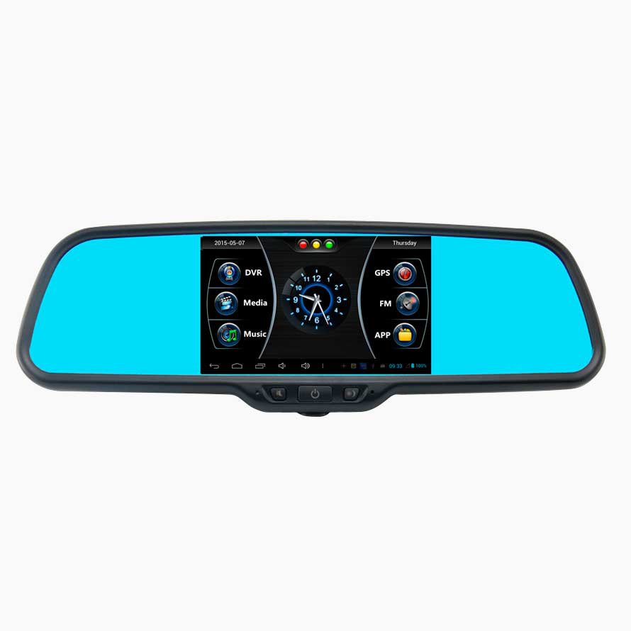 Штатное зеркало Prime-X 043/105 с видеорегистратором, GPS, WiFi, FM трансмиттером и камерой заднего вида, на Android (на штатном креплении)